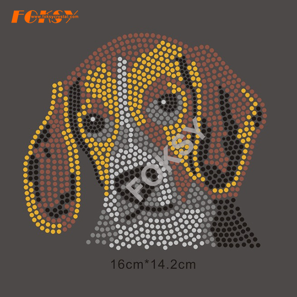 Venta al por mayor Dog Rhinestone Heat Transfer Design