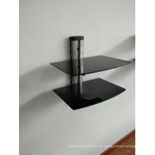 Soporte de DVD / tubo de plata con vidrio negro