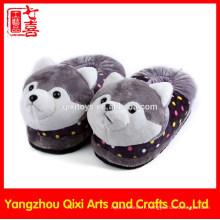 Bonne qualité hiver intérieur peluche jouets husky chien pantoufles en gros pantoufles animaux enfants pantoufles