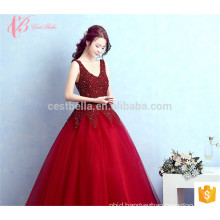 Deep V Back Bead Sleeveless Party Wear Gowns For Ladies Ball Gowns Floor Touching Evening Dress