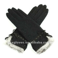 ladies cashmere gloves with fur cuff