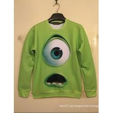 Big Green Single Eyes Imprimiendo Camisa Manga Larga