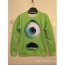 Big Green Chemise d'impression pour les yeux simples à manches longues