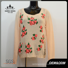 Women Flower Pullover Spring Sweater