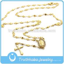 Collar de perlas de corazón plano grande de oro amarillo con cuentas colgante de cristal collar cruz