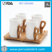Ceramic Coffee Mug with Bamboo Handle Set of 4