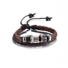Wholesale Western Vintage Bracelet Made of Cowhide Handmade Antique Silver Plated Jewelry