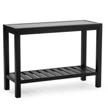 Thin Glass Hall Console Table with Back
