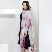 Lenço de moda seda feminina, impressão digital