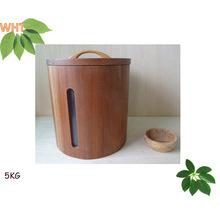 Por encargo pequeño cubo de arroz de madera