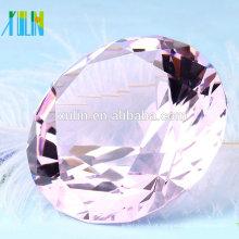 Alta qualidade luz rosa de cristal de diamante peso de papel para lembranças de casamento