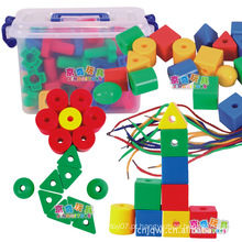 Hotsale crianças threading brinquedos de plástico conector de construção