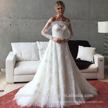 Applique Zipper A Line Sweep Train Charming Button Lace Long Sleeve Wedding Dress 2016 CWF2422