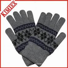 Зимняя жаккардовая трикотажная перчатка с подкладкой из флиса