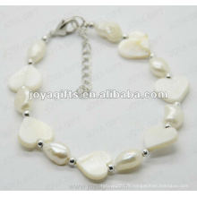 Fashion 2012 Joya White Heart Pearl Shell perlé à cheville