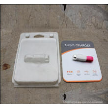 Caixa de embalagem clara da bolha do ANIMAL DE ESTIMAÇÃO com o cartão impresso para produtos da eletrônica