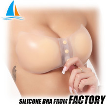 Sexy silicone push up adhesive open shelf bra