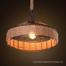 Vintage hemp rope pendant light retro loft industrial hanging lamp