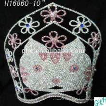 Corona grande del desfile de la corona hermosa del gato, tiaras animales altas para la venta