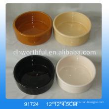 Tazones de cerámica baratos de encargo del animal doméstico en color puro con insignia