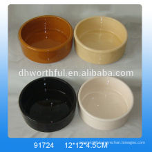 Custom cheap ceramic pet bowls in pure colour with logo