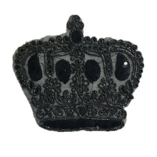 Rope embroidery black crown patches badges