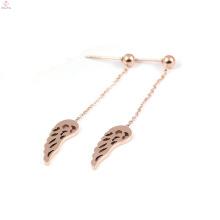 Brincos de asa de anjo de gota de pena de ouro rosa de aço inoxidável