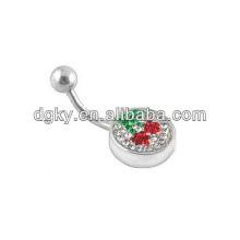 Cereza dangle botón anillo de la barra del ombligo cuerpo piercing piercing