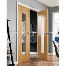 Double Leaf Interior Veneer Door with Full Glass Design