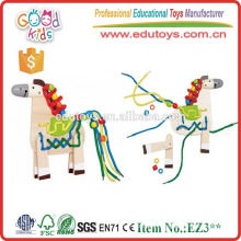 New Design Educational Game Wooden Horse Kids Lacing Toys