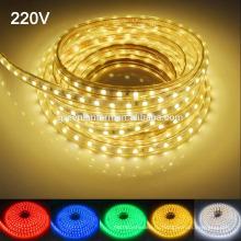 Водонепроницаемый IP67 220В светодиодные полосы света 60leds/м 5050smd светодиодные полосы света с разъемом питания светодиодные фонари
