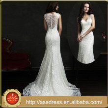 AMS18 Modern Style Bridal Wedding Gown Illusion Back Lace Beautiful Pakistani Wedding Dresses