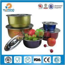 Vente chaude coloré 5 pcs en acier inoxydable soupière pot
