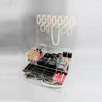 Organisateur de bijoux en acrylique transparent et de maquillage cosmétique