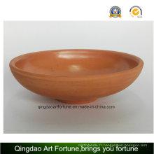 Bol en céramique en argile extérieure et naturelle Large