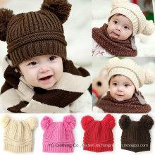 Nueva moda encantadora doble bola tejer gorra de suéter