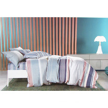 Home Design Striped Cotton 4 Pieces Bedding Set
