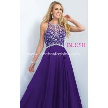 Elegant Chiffon Halter Purple Prom Dress