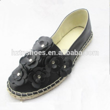 2016 new spring autumn style black shoes design flower with stud's espadrille for women flat slip on casual shoes