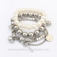 2015 moda multi-camada pérola bead pulseira para mulheres