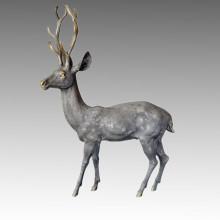 Estatua de bronce de la estatua de bronce de la decoración de los ciervos del animal grande de la escultura Tpal-058