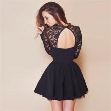 Женщины видят через Backless Front Открыть черное вечернее платье