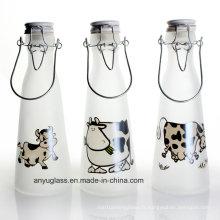 Bouteilles de lait de verre avec capuchon pivotant pour Beverqage