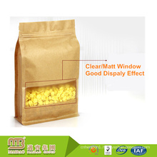 Low Cost Food Grade Stand Up Kraft Paper Flat Bottom Pouches With Zipper & Window For Food Packing