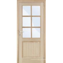Inacabado Carvalho interior folheado arqueado superior porta de madeira composta de francês