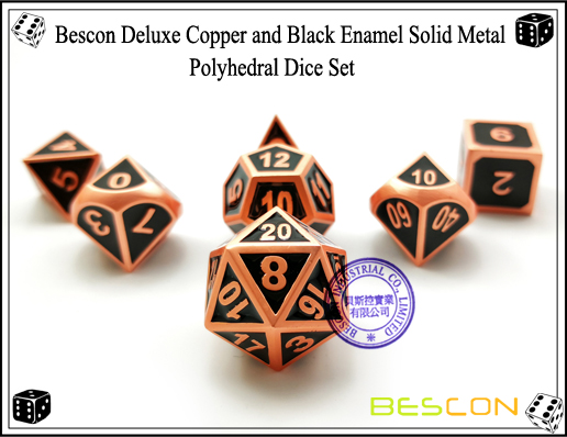 Bescon Deluxe Copper and Black Enamel Solid Metal Polyhedral Role Playing RPG Game Dice Set (7 Die in Pack)-1