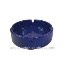 Blau-glasierter runder keramischer Aschenbecher für BS140122D
