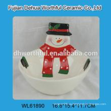Tazón de cerámica de Navidad hecho a mano con forma de muñeco de nieve