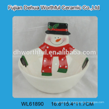 Bol en céramique de Noël fait à la main avec forme de bonhomme de neige