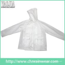 Yj-1057 Clear Transparent PVC Womens Lightweight Rain Jacket Ladies Rainwear